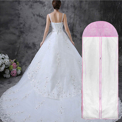 Breathable Wedding Prom Dress Gown Garment Clothes Cover Dustproof Bag Zip#