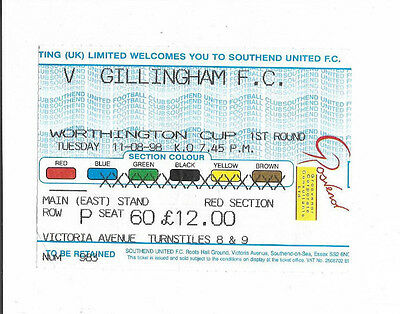 Ticket 1998/99 (Worthington) League Cup - SOUTHEND UNITED v. GILLINGHAM