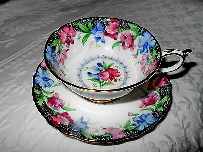 Paragon Tea Cup And Saucer Wide Mouth Colorful Hibiscus Pink Blue Black