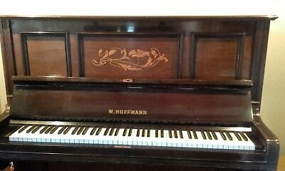 Antique upright overstrung piano W Hoffmann in fine condition, Tuned regularly