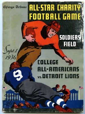 1936 Chicago Tribune All Star Charity Football Game Americans v Lions Program