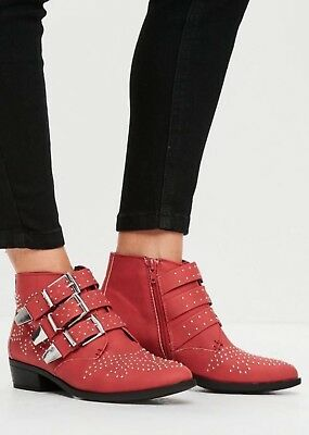 Missguided Red Chloe Boots BNIB