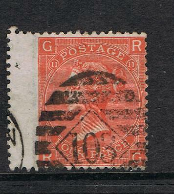 Great Britain - Victoria  1865  SG 94  Plate 11- 4d Vermilion - Wing Margin Used