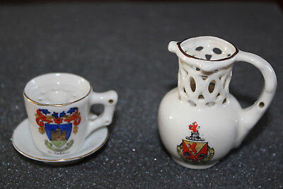Crested china puzzle jug and cup
