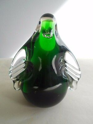 Wedgwood? Green Glass Penguin Paperweight