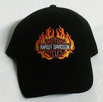 Authentic Embroildered Harley Davidson and Flame Adjustable baseball Cap