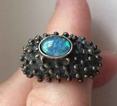 John Pagacz Modernist Sterling And Opal Ring Size 6.5 Original Patina Gorgeous