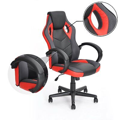 Swivel Gaming Chair Computer Racing Red Office High Back PU Leather Ergonomic