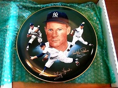 Whitey Ford & Artist Paluso Yankees Hof Hackett L/e Signed Auto Plate Jsa Auth