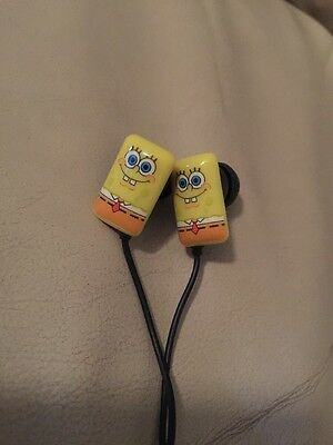NEW Spongebob Squarepants Earbuds Headphones Music Play And Pause Button Viacom