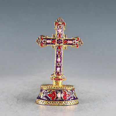 Chinese Cloisonne Handmade Inlaid With Rhinestone The Cross Pot Statue JTL2049