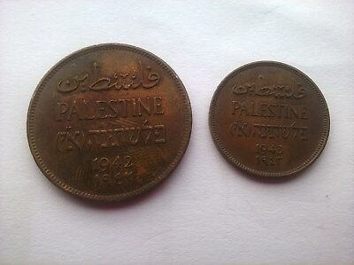 Palestine 1942 Two Mils & 1943 One Mils Coins