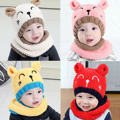 BU_ Cat Pattern Baby Toddler Autumn Winter Warm Round Hat Beanie Cap Gift Novelt