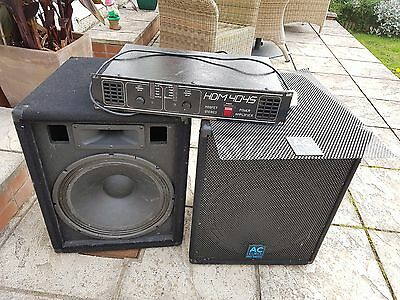 AC Euro 15 inch pa speakers and amplifier HDM 4045 disco DJ