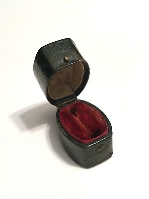 Antique Victorian Dark Green Leather Ring Box Jewellery/Jewelry Display Case