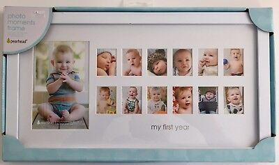 "Pearhead ""My First Year"" Photo Moments Baby Keepsake Frame, White"