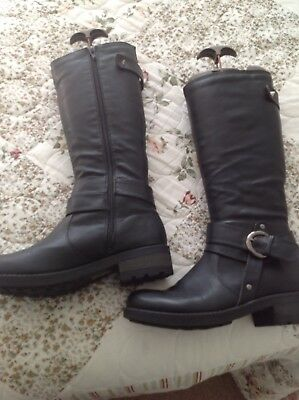Krush Black Faux Leather Buckle Side Long Boots Size 5 (38)  Worn Few Times
