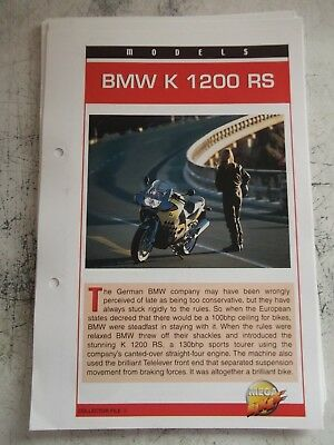 BMW K 1200 RS collector file fact sheet.