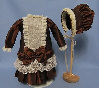 """French Style Silk Dress & Hat To Fit 16""""/17"""" Antique/reproduction Doll"""
