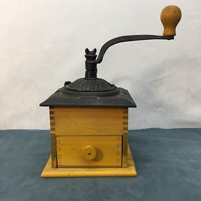 Coffee Grinder Dovetailed Wooden Cast Iron Metal Hand Painted Vintage Antique