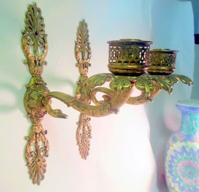 Rare Signed Pr Antique Bronze SCONCES SWANS Palmette Empire Regency Candleholder