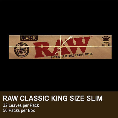 1 Pack Raw Classic King Size Slim Natural Unrefined Rolling Paper