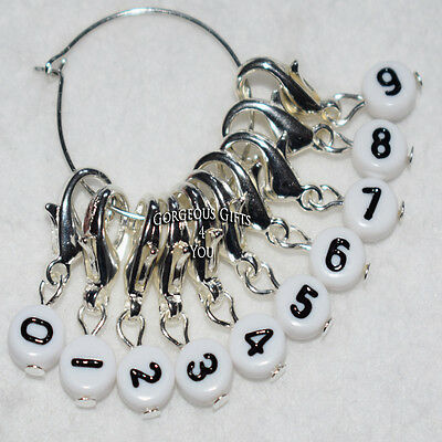 Set 10 Clip Numbers Stitch Markers Knitting Crochet 0 - 9 Row Counter Accessory