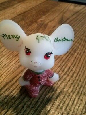 FENTON ART GLASS FIGURINE Merry Christmas Mouse hard to find.