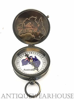Solid Brass Working Antique Compass Handmade Leather Case North Pole Compass