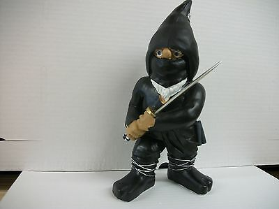 "Black Ninja  Gnome Poly Resin 11"" Tall"