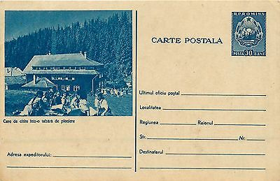 Romania scouts reading camp club unposted 1960s postal stationery card