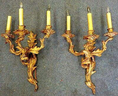Vintage Pair Antique Brass/bronze French Rococo Sconces