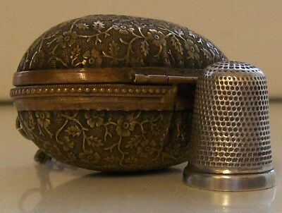 Lovely Brass Antique Egg Shape Thimble Holder and Silver Thimble