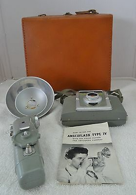 VINTAGE ANSCO FLASH CLIPPER CAMERA WITH CASE - 1930's or 40's