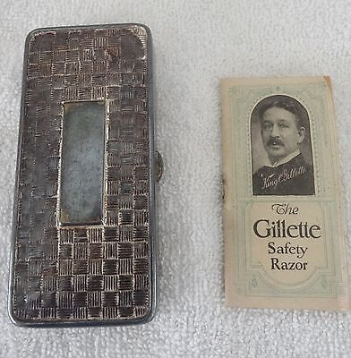 ANTIQUE 1920's SILVER GILLETTE SAFETY RAZOR CASE