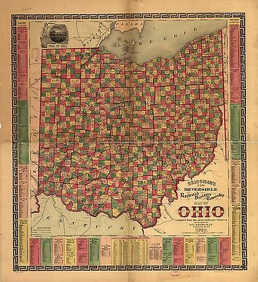 12x18 inch Reprint of American Railroad Map Ohio