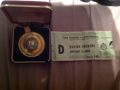 Aston Villa 1982 European Winners Medal Boxed With Match Ticket