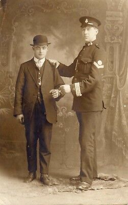 Pc Photo Special Constable & 'Prisoner' in handcuffs. WW1 Police