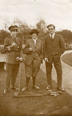 Pc Photo Golf Players and lady in Army Officers uniform WW1 period? Golf Clubs