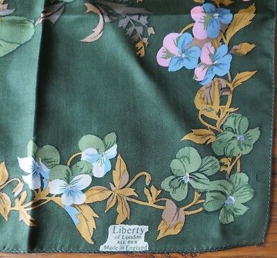Liberty of London All Silk Made in England 57 x 57cm Pansies Scarf Very Pretty