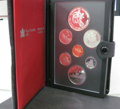 1984 Royal Canadian Proof With Silver Dollar &nickel Dollar Indian In Canoe Box/