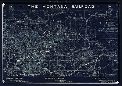 12x18 inch Reprint of American Railroad Map Montana