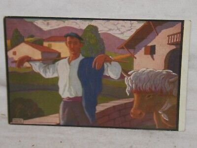 1938 Pays Basque Carte Collection N/ 1 D Apres Ramiro Arrue Paysan Et Son Boeuf