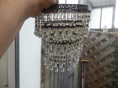 Vintage Chandelier  Light Shade Antique Brass Trim & Tiered  Glass Droplets