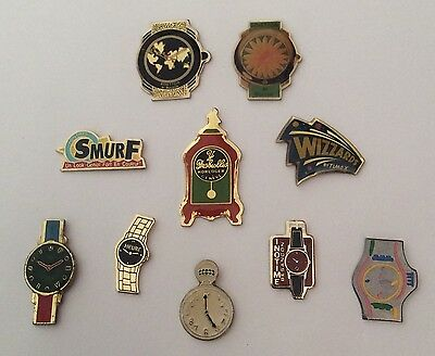 Lot 10 Pin's Montres Watches Benetton by Bulova Swatch N° 1389 at back Inotime
