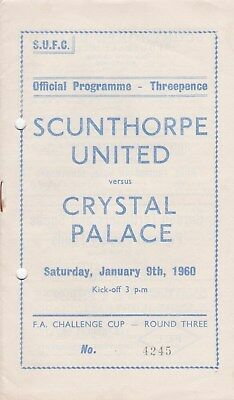 * 1959/60 - SCUNTHORPE UNITED v CRYSTAL PALACE FA CUP (9th January 1960) *