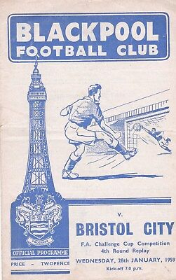 * 1958/59 - BLACKPOOL v BRISTOL CITY- FA CUP- REPLAY (28th January 1959) *