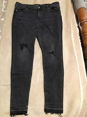 Womens Black Skinny Stretch Ripped Jeans size 18