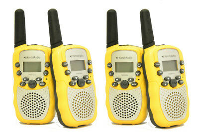 4 Brand New Walkie Talkies Licence Free Yellow Two Way Radios