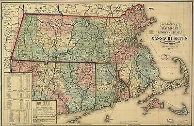 12x18 inch Reprint of American Railroad Map Massachusetts